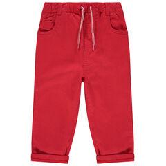 Παντελόνι κόκκινο μονόχρωμο με ελαστική μέση