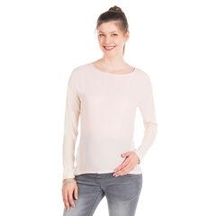 Tee-shirt manches longues de grossesse bi-matière uni