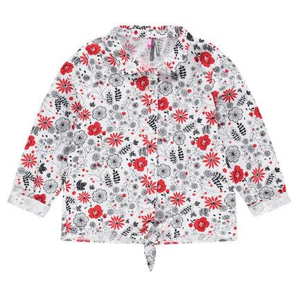 Μακρυμάνικο πουκάμισο με λουλούδια σε αντίθεση