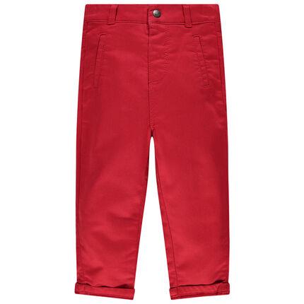 Μονόχρωμο κόκκινο παντελόνι με μοτίβο κοάλα στην τσέπη