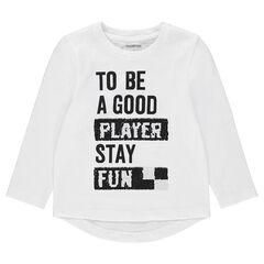 Μακρυμάνικη ζέρσεϊ μπλούζα με τυπωμένο μήνυμα και «μαγικές» πούλιες