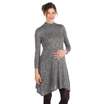 Φόρεμα εγκυμοσύνης από μελανζέ ύφασμα σε φαρδιά γραμμή