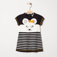 Κοντομάνικο πλεκτό φόρεμα με ζακάρ ποντίκι και φιόγκο