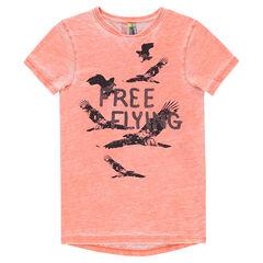 Παιδικά - Κοντομάνικη μπλούζα tie & dye με τυπωμένα πουλιά