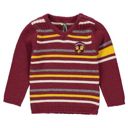 Pull en tricot à rayures contrastées avec patch cousu