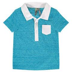Κοντομάνικο πόλο μπλε μελανζέ με γιακά και τσέπη τουίλ