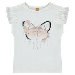 Κοντομάνικη ζέρσεϊ μπλούζα με φρουφρού από τούλι και στάμπα πεταλούδα