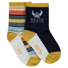 Σετ 2 ζευγάρια ασορτί κάλτσες, ένα ριγέ/ένα με μοτίβο βίκινγκ