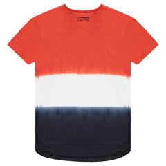 Παιδικά - Κοντομάνικη μπλούζα από ζέρσεϊ με αντιθέσεις και ξεβαμμένη όψη