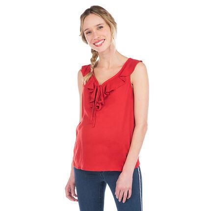 Μπλούζάκι εγκλυμοσύνης με βολάν και κορδονάκια