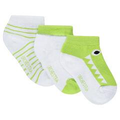 Σετ με 2 ζευγάρια κοντές κάλτσες με κροκόδειλο σε ζακάρ και ρίγες