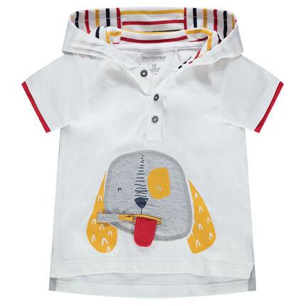 Κοντομάνικη μπλούζα με κουκούλα και φερμουάρ