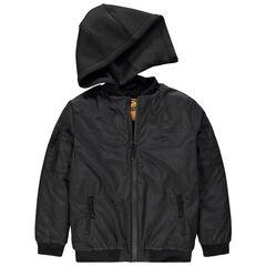 Παιδικά - Μαύρο μπουφάν με αφαιρούμενη κουκούλα και στάμπα Smiley στην πλάτη