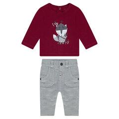 Σύνολο με μπλούζα ζέρσεϊ και παντελόνι σε ύφανση ψαροκόκαλο
