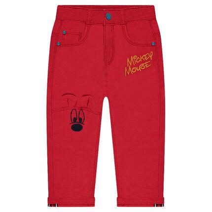Παντελόνι με φαντεζί ύφανση και κέντημα με θέμα τον Μίκυ της ©Disney