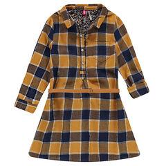 Μακρυμάνικο καρό φόρεμα με καμηλό ζώνη