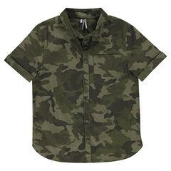 Παιδικά - Βαμβακερό κοντομάνικο πουκάμισο σε στιλ μιλιτέρ