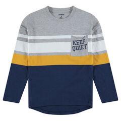 Παιδικά - Μακρυμάνικη μπλούζα με λωρίδες σε αντίθεση και τσέπη