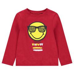 Κόκκινη μακρυμάνικη μπλούζα από ζέρσεϊ με στάμπα ©Smiley