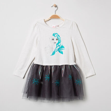 Μακρυμάνικο φόρεμα από τούλι με παγιέτες και στάμπα την Έλσα από το Frozen της Disney