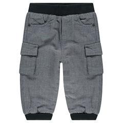 Παντελόνι από φανέλα με τσέπες και φλις επένδυση