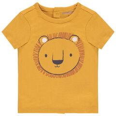 Κοντομάνικη μπλούζα από βιολογικό βαμβάκι με στάμπα λιοντάρι