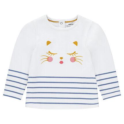 Μακρυμάνικη μπλούζα με στάμπα γάτα και ρίγες