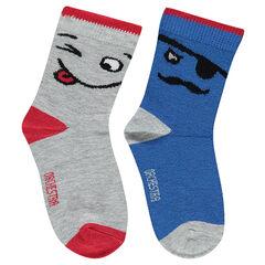 Σετ 2 ζευγάρια κάλτσες με ζακάρ φιγούρες