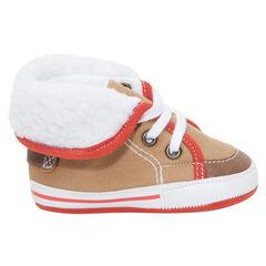 Μαλακά αθλητικά παπούτσια με κορδόνια και συνθετική γούνα
