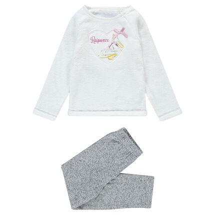 Πιτζάμα με μπλούζα από sherpa και απλικέ μοτίβο Ραπουνζέλ