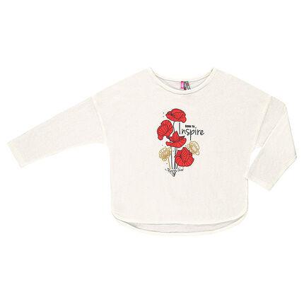 Μακρυμάνικη μπλούζα με όψη λινού και τύπωμα παπαρούνες
