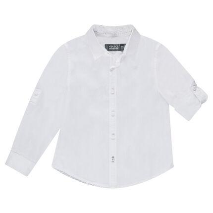 Παιδικά - Μακρυμάνικο βαμβακερό μονόχρωμο πουκάμισο
