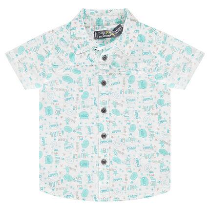 Κοντομάνικο πουκάμισο από εμπριμέ βαμβακερή ποπλίνα
