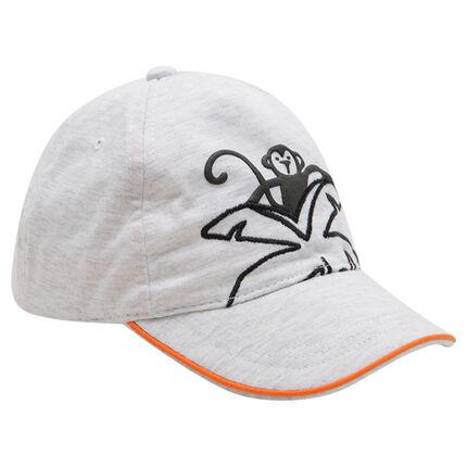 Καπέλο από ζέρσεϊ με λάστιχο και στάμπα μαϊμού