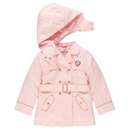 Μονόχρωμη καμπαρντίνα σε ροζ παλ με σατινέ επένδυση