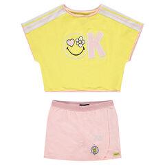 Σύνολο μπλούζα σε τετράγωνη γραμμή και φούστα-σορτς με μοτίβα ©Smiley