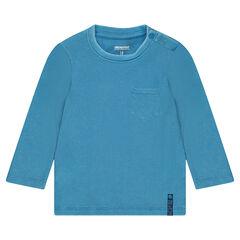 Μακρυμάνικη ριμπ μπλούζα με πλακέ τσέπη