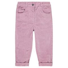 Βελούδινο παντελόνι με ζέρσεϊ επένδυση και κέντημα στις τσέπες