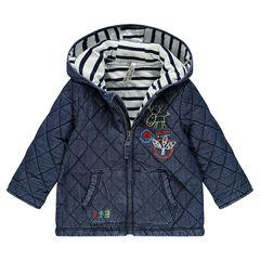 Parka à capuche en chambray doublée jersey à rayures avec motifs fantaisie
