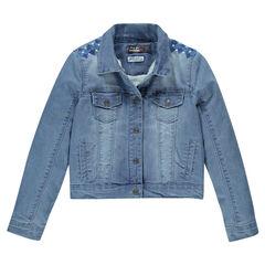 Junior - Veste en jeans brodée et doublée sherpa