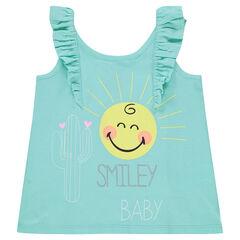 Αμάνικο μπλουζάκι από ζέρσεϊ με στάμπα ©Smiley και βολάν