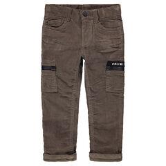 Βελουτέ κοτλέ παντελόνι με τσέπες με φερμουάρ