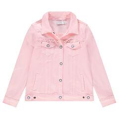 Παιδικά - Τζιν μπουφάν ροζ με διακοσμητικές πέρλες