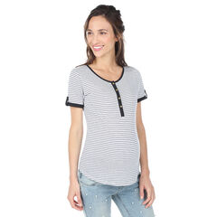 Κοντομάνικη ριγέ μπλούζα εγκυμοσύνης και θηλασμού