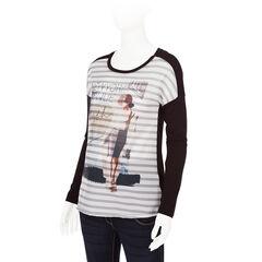 Μακρυμάνικη μπλούζα εγκυμοσύνης με στάμπα σε όλη την επιφάνεια μπροστά