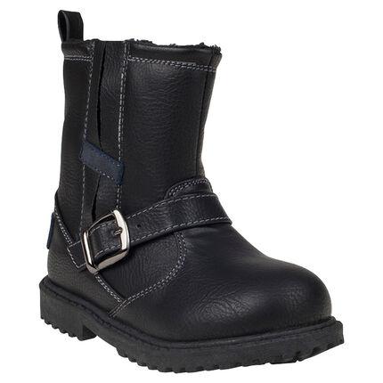 1/2 bottes aspect cuir avec boucle métal et zip