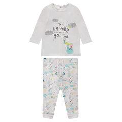Σύνολο με μπλούζα από διπλό ζέρσεϊ και εμπριμέ παντελόνι από φανέλα με sherpa
