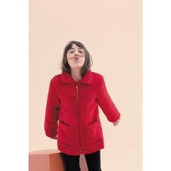 Παιδικά - Κόκκινη ζακέτα από sherpa με φερμουάρ και επένδυση από sherpa