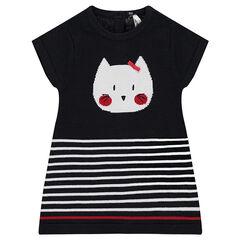 Πλεκτό κοντομάνικο φόρεμα με ζακάρ μοτίβο γάτα και ρίγες