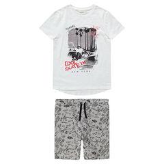 Παιδικά - Σύνολο με κοντομάνικο μπλουζάκι με σκέιτμπορντ και βερμούδα με σχέδια σε όλη την επιφάνεια